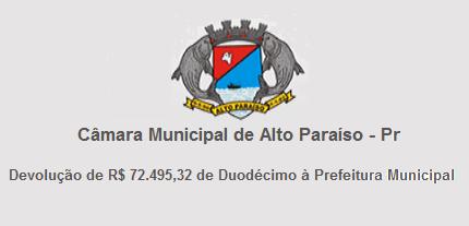 Câmara Municipal de Alto Paraíso faz Devolução de Duodécimo